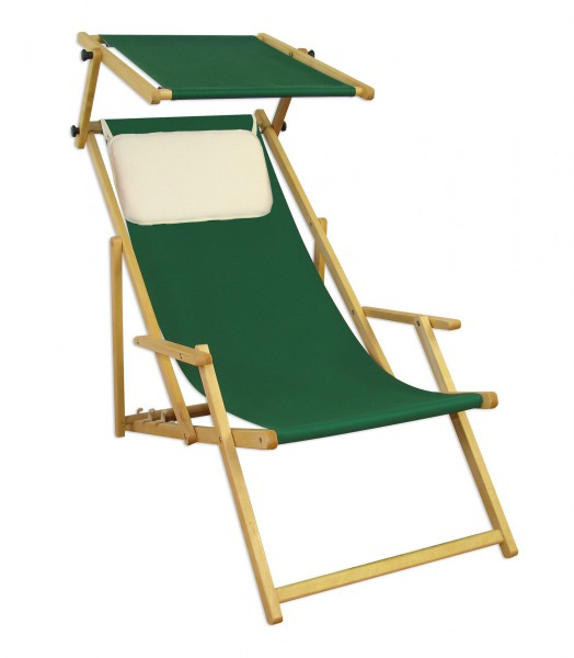 gartenstuhl gr n sonnenliege strandstuhl sonnendach kissen deckchair holz gartenm bel 10 304 n s. Black Bedroom Furniture Sets. Home Design Ideas