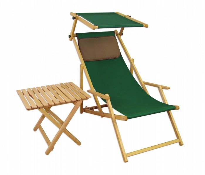 liegestuhl gr n gartenliege strandliege sonnendach tisch gartenm bel holz deckchair 10 304 n s t. Black Bedroom Furniture Sets. Home Design Ideas