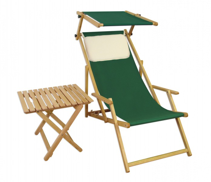 liegestuhl gr n gartenliege strandliege sonnendach tisch gartenm bel holz deckchair 10 304 n s t. Black Bedroom Furniture Sets. Home Design Ideas