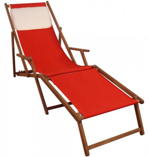 Gartenliege Liegestuhl rot Fußablage u Kissen Deckchair klappbar ...