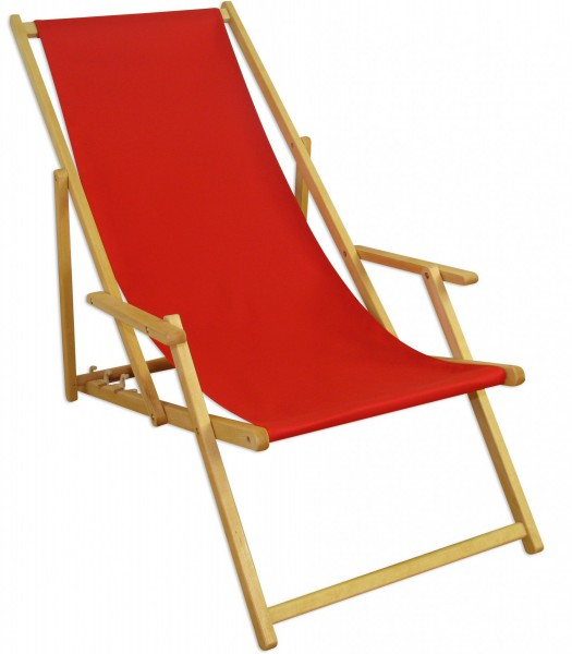 Gartenliege klappbar holz  Liegestuhl rot Fußablage Kissen Deckchair klappbar Sonnenliege ...