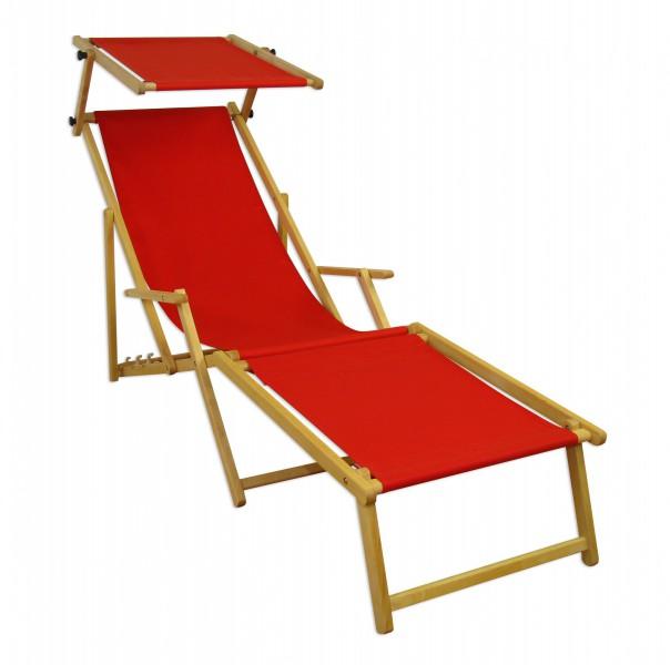 gartenliege rot strandliege relaxliege fu ablage sonnendach buche klappstuhl 10 308 n f s. Black Bedroom Furniture Sets. Home Design Ideas