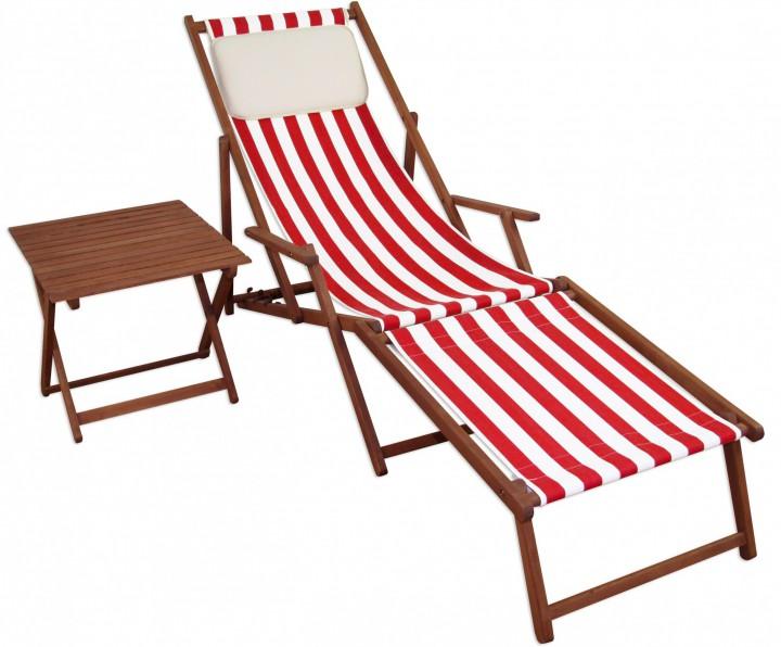 gartenliege liegestuhl fu teil tisch kissen deckchair holz sonnenliege rot wei 10 314 f t kh. Black Bedroom Furniture Sets. Home Design Ideas