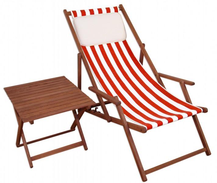 gartenliege rot-weiß liegestuhl tisch kissen sonnenliege deckchair, Esszimmer dekoo