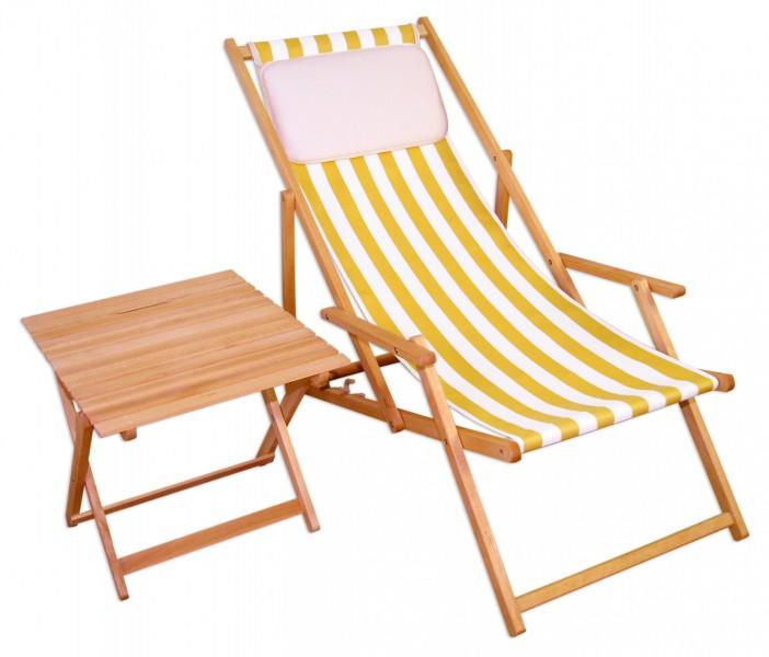 liegestuhl gelb wei gartenliege tisch kissen deckchair holz sonnenliege gartenstuhl 10 319 n t. Black Bedroom Furniture Sets. Home Design Ideas