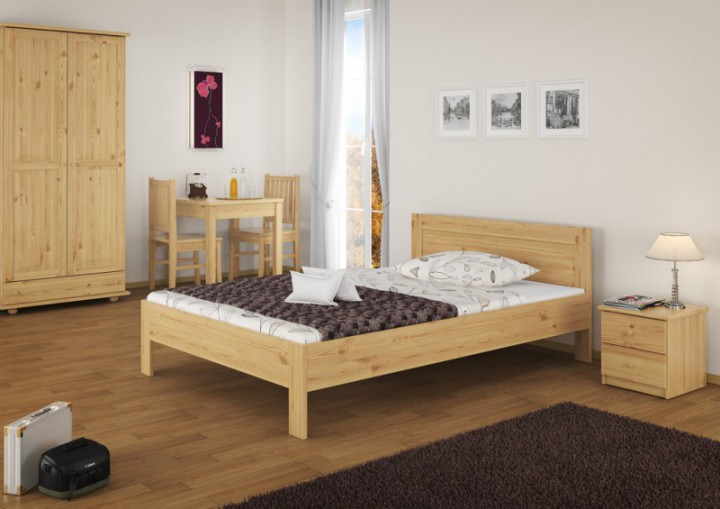 franz sisches bett doppelbett grand lit 140x200 kieferbett massivholz natur mit rollrost. Black Bedroom Furniture Sets. Home Design Ideas