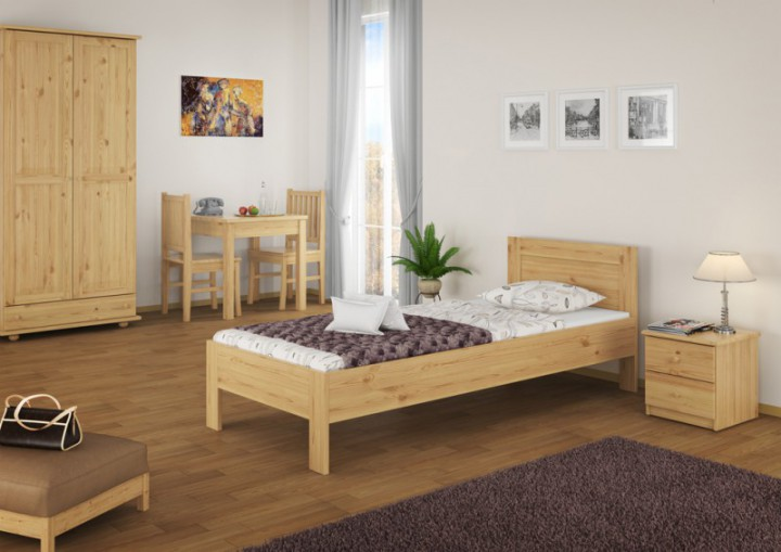hotelbett einzelbett g stebett 90x200 massivholzbett kiefer natur mit rollrost. Black Bedroom Furniture Sets. Home Design Ideas