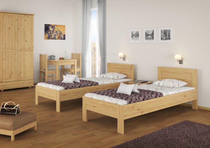 einzelbett g stebett hotelbett jugendbett 90x200 kiefer massiv ohne zubeh r or. Black Bedroom Furniture Sets. Home Design Ideas