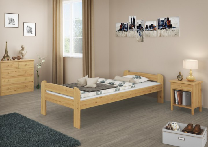 jugendbett kieferbett natur 90x200 einzelbett massivholz bettgestell ohne rollrost or. Black Bedroom Furniture Sets. Home Design Ideas