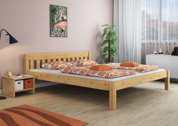 doppelbett ehebett 180x200 kiefer natur massivholzbett rollroste matratze m. Black Bedroom Furniture Sets. Home Design Ideas