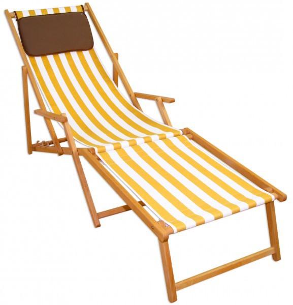 Gartenliege klappbar holz  Liegestuhl gelb-weiß Fußablage Kissen Deckchair klappbar ...