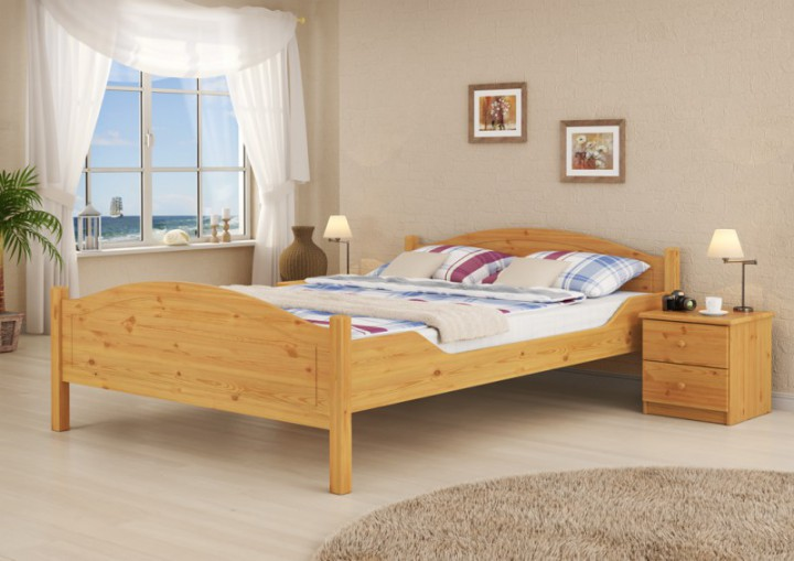 massivholz ehebett kiefer natur doppelbett 180x200 bett. Black Bedroom Furniture Sets. Home Design Ideas