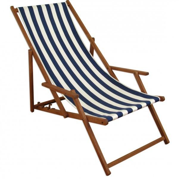 Klappstuhl holz strand  Gartenliege blau-weiß Strandliege Relaxliege Fußablage Sonnendach ...