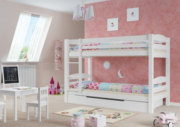 etagenbett kiefer wei 90x200 mit matratzen und rollroste. Black Bedroom Furniture Sets. Home Design Ideas