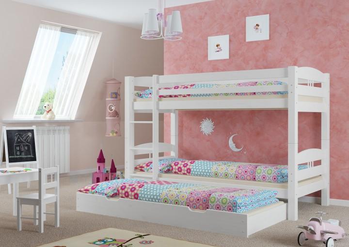 Etagenbett stockbett hohes bett waschwei 90x200 rollroste for Bett 3 matratzen