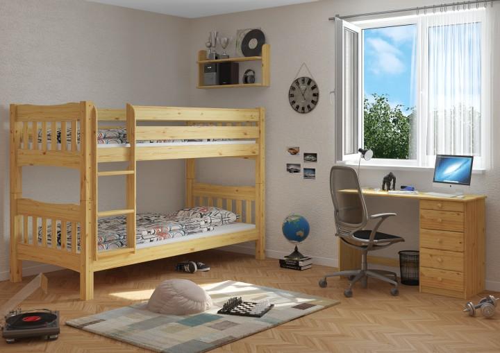 etagenbett kiefer natur massivholzbett 90x200 stockbett hochbett rollroste ni70. Black Bedroom Furniture Sets. Home Design Ideas