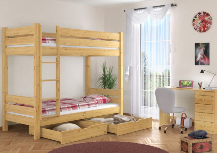 etagenbett f r erwachsene 90x200 teilbar 2 rollroste 2. Black Bedroom Furniture Sets. Home Design Ideas