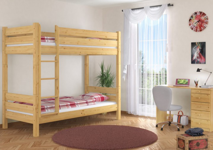 stockbett massiv 90x200 hochbett kiefer natur nische 100. Black Bedroom Furniture Sets. Home Design Ideas
