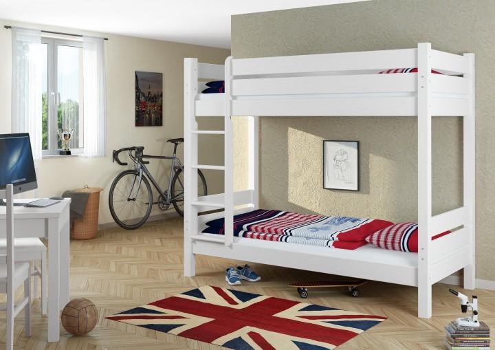 w etagenbett f r erwachsene wei 90x200 cm nischenh he 100 cm mit 2 rollroste. Black Bedroom Furniture Sets. Home Design Ideas