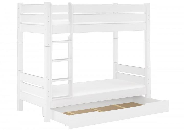 hochbett kiefer wei 90x200 etagenbett stabil teilbar. Black Bedroom Furniture Sets. Home Design Ideas