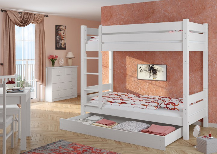 hochbett kiefer wei 90x200 etagenbett stabil teilbar rollrost bettkasten w t100 m s1. Black Bedroom Furniture Sets. Home Design Ideas
