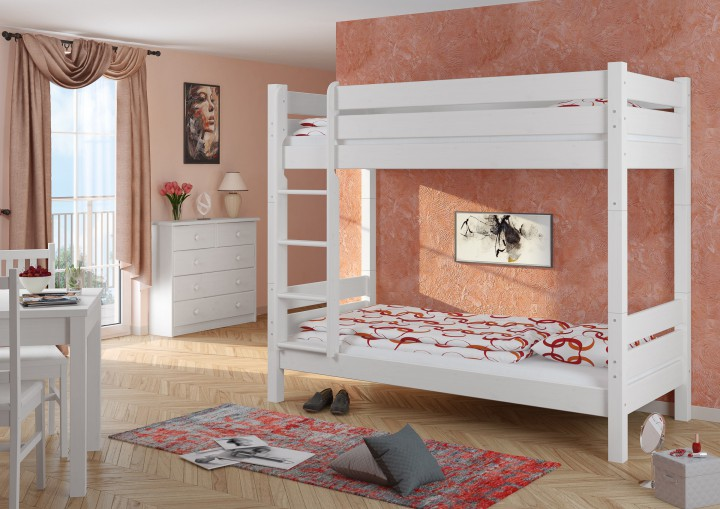hochbett stabil 90x200 kiefer wei hochbett teilbar etagenbett ohne rollrost w t100 or. Black Bedroom Furniture Sets. Home Design Ideas