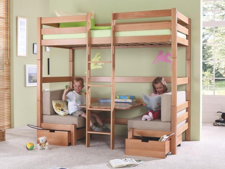 hochbett 90x200 mit matratzen sitzb nken buche etagenbett kinderbett stockbett m. Black Bedroom Furniture Sets. Home Design Ideas