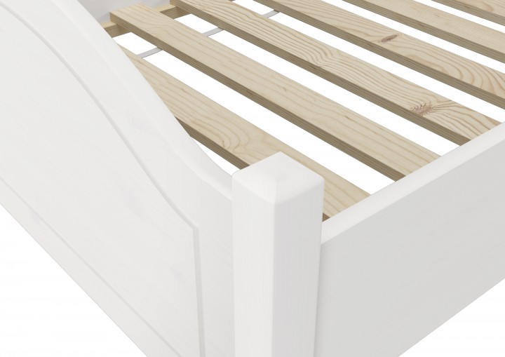 einzelbett kiefer wei 90x200 futonbett jugenbett singlebett lattenrollrost w. Black Bedroom Furniture Sets. Home Design Ideas