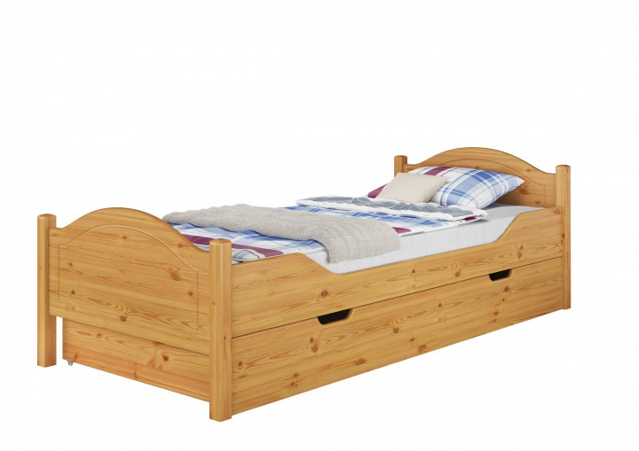 massivholz bett kiefer natur 100x200 einzelbett rollrost matratze bettkasten m s4. Black Bedroom Furniture Sets. Home Design Ideas