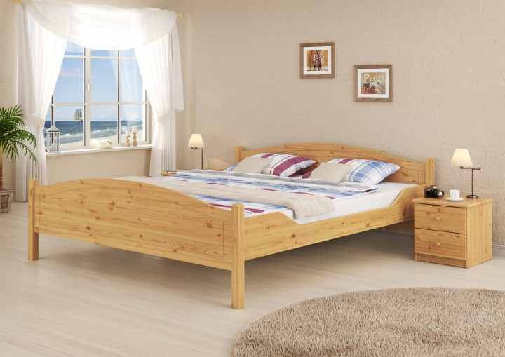 massivholz doppelbett kiefer natur 180x200 ehebett mit matratze und rollrost m. Black Bedroom Furniture Sets. Home Design Ideas