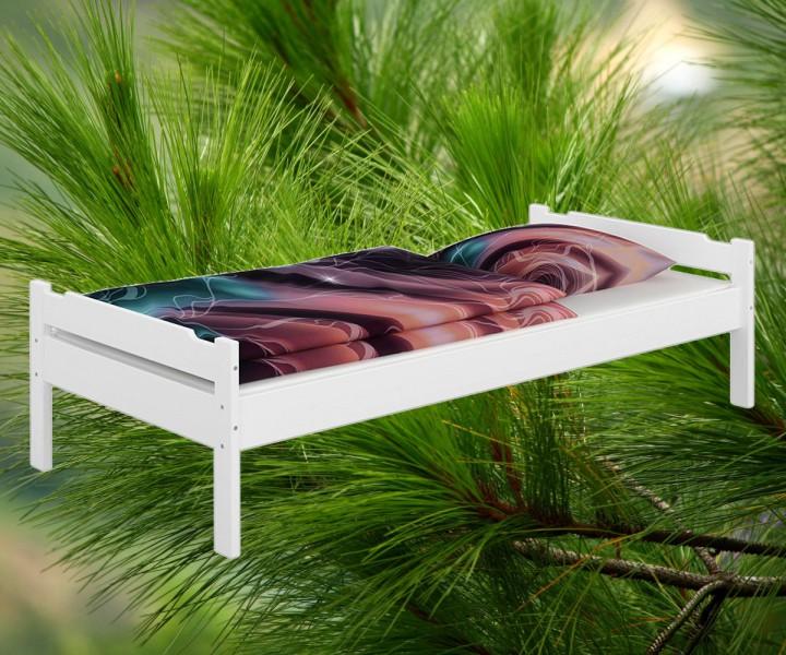 einzelbett kiefer wei 90x200 jugendbett massivholz bettgestell ohne zubeh r w or. Black Bedroom Furniture Sets. Home Design Ideas