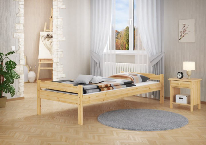 einzel bett kiefer 120x200 massivholzbett jugendbett futonbett mit rollrost und matratze. Black Bedroom Furniture Sets. Home Design Ideas