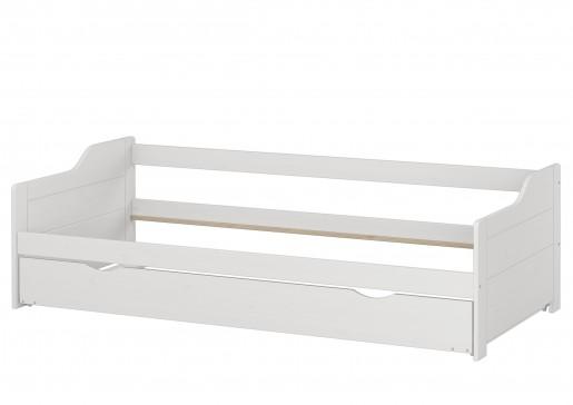 sofabett zweiter schlafplatz bettgestell 90x200 einzelbett bettkasten kiefer waschwei. Black Bedroom Furniture Sets. Home Design Ideas