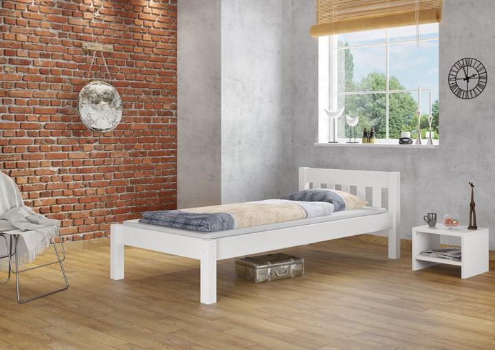 Modernes einzelbett massivholzbett kiefer wei 90x200 for Einzelbett modern