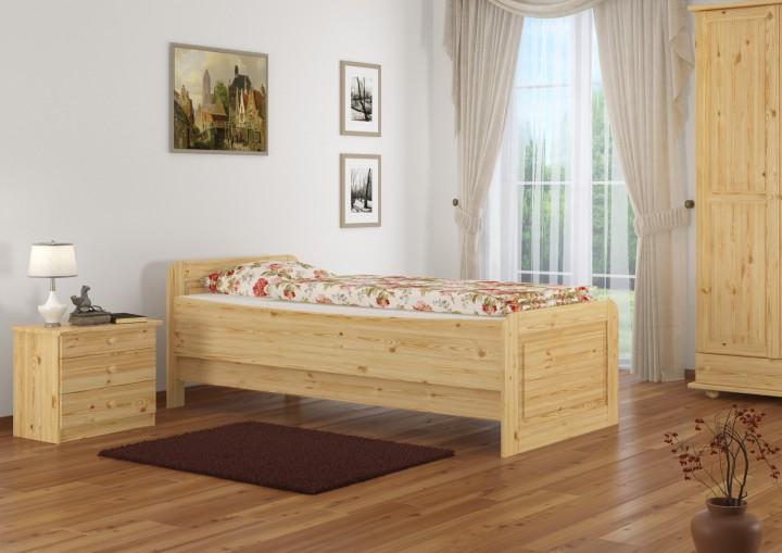 seniorenbett extra hoch 90x200 einzelbett massivholz kiefer bett mit rollrost. Black Bedroom Furniture Sets. Home Design Ideas