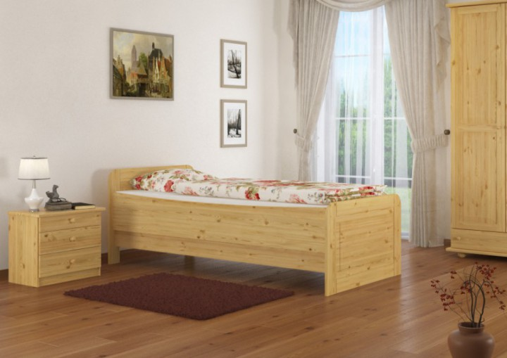 seniorenbett extra hoch 120x200 einzelbett holzbett massivholz kiefer bett mit rollrost. Black Bedroom Furniture Sets. Home Design Ideas
