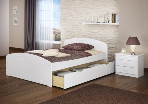 funktionsbett 140x200 doppelbett 3 bettkasten seniorenbett ehebett massivholz wei w or. Black Bedroom Furniture Sets. Home Design Ideas