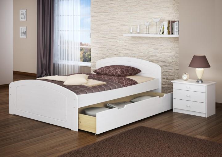 funktionsbett 140x200 doppelbett 3 bettkasten seniorenbett ehebett massivholz wei w or. Black Bedroom Furniture Sets. Home Design Ideas
