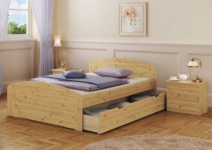 funktionsbett doppelbett 3 bettkasten rollrost 160x200 seniorenbett massivholz kiefer. Black Bedroom Furniture Sets. Home Design Ideas