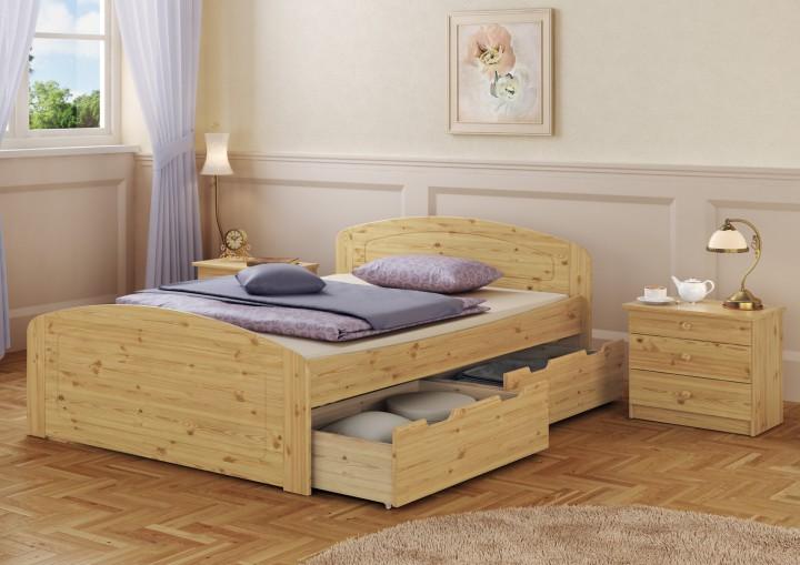 doppelbett kiefer 160x200 bettkasten federholzrahmen matratze bettdecke kopfkissen mb. Black Bedroom Furniture Sets. Home Design Ideas
