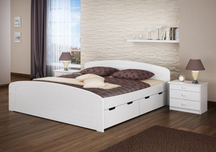 ehebett doppelbett bettkasten 180x200 seniorenbett massivholz kieferbettgestell wei w. Black Bedroom Furniture Sets. Home Design Ideas