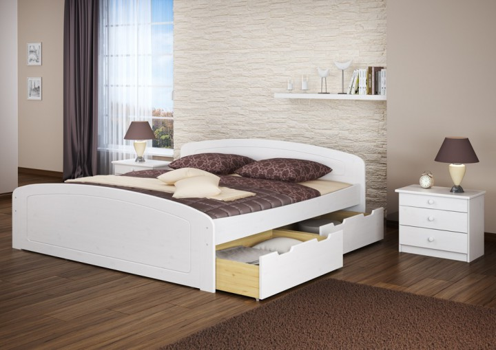 funktionsbett doppelbett bettkasten rollrost 180x200 seniorenbett massivholz wei w. Black Bedroom Furniture Sets. Home Design Ideas