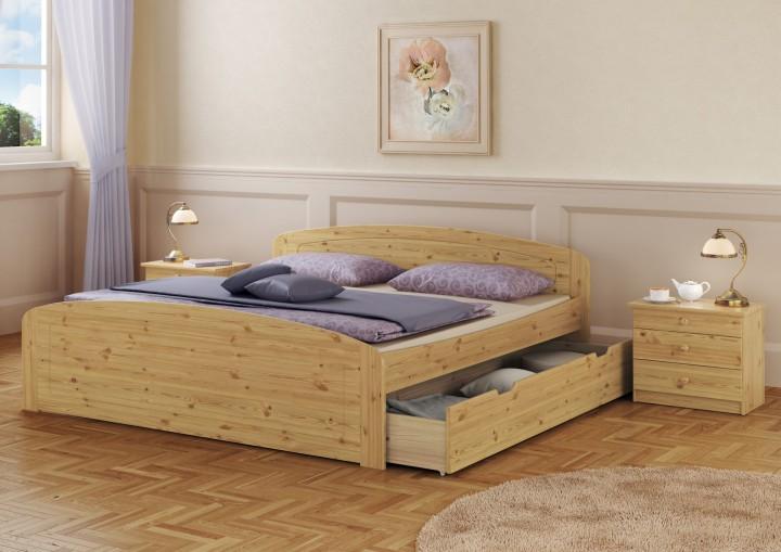 funktions doppelbett berl nge 200x220 bettkasten bettgestell massivholz kiefer or. Black Bedroom Furniture Sets. Home Design Ideas