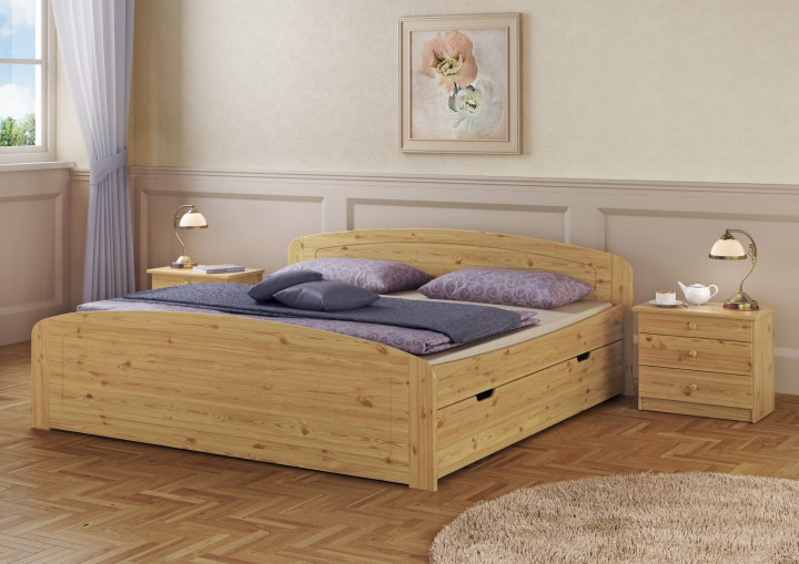 funktionsbett doppelbett 3 bettkasten rollrost 200x200 seniorenbett massivholz kiefer. Black Bedroom Furniture Sets. Home Design Ideas