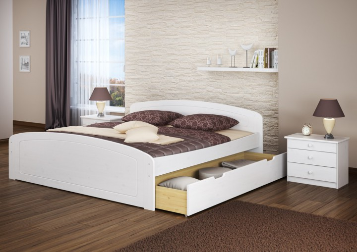 doppelbett 3 bettkasten 200x200 seniorenbett ehebett massivholz kiefer waschwei w or. Black Bedroom Furniture Sets. Home Design Ideas