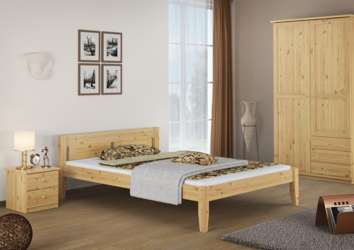 massivholzbett 140x200 doppelbett rollrost holzbett. Black Bedroom Furniture Sets. Home Design Ideas