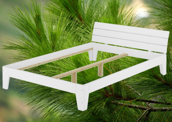 doppelbett mit rollrost 140x200 futonbett bettgestell holzbett massivholz kiefer wei w. Black Bedroom Furniture Sets. Home Design Ideas