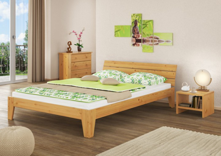 doppelbett massivholz bettgestell kiefer natur 160x200 futonbett ehebett ohne zubeh r. Black Bedroom Furniture Sets. Home Design Ideas