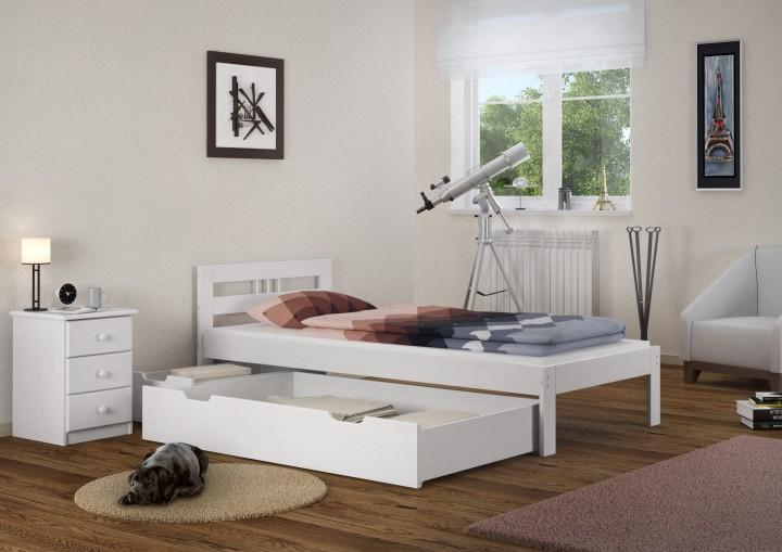 einzelbett jugendbett 90x200 futonbett kieferbett wei massivholz rollrost g stebett w. Black Bedroom Furniture Sets. Home Design Ideas