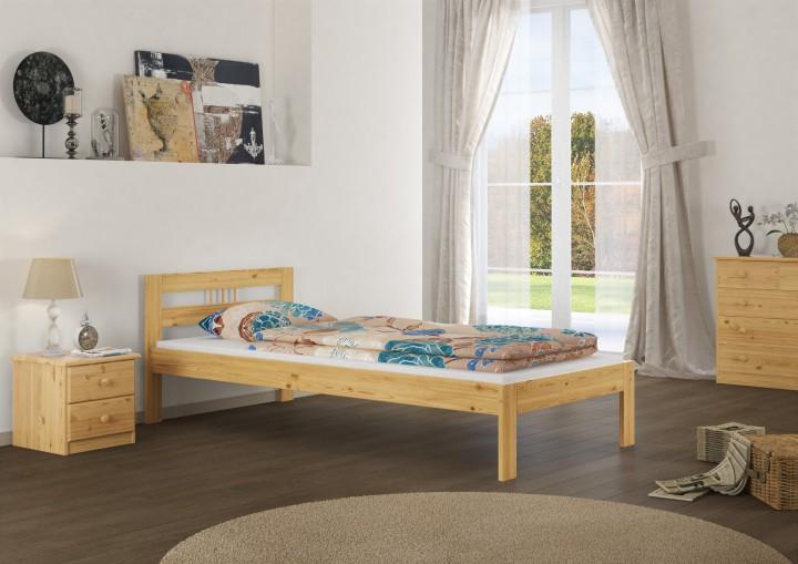 jugendbett futonbett massivholz kiefer natur 100x200 einzelbett rollrost matratze m. Black Bedroom Furniture Sets. Home Design Ideas